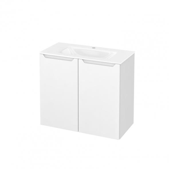 Meuble de salle de bains - Plan vasque VALA - PIMA Blanc - 2 portes - Côtés décors - L80,5 x H71,2 x P40,5 cm