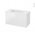STECIA Blanc - Meuble salle de bains N°652 - Vasque REZO - 2 tiroirs  - L100,5xH58,5xP50,5