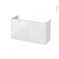 Meuble de salle de bains - Sous vasque - BORA Blanc - 2 portes - Côtés blancs - L100 x H57 x P40 cm