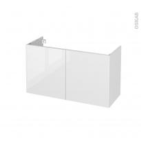 STECIA Blanc - Meuble sous vasque N°662 - Côté décor - 2 portes prof.40 - L100xH57xP40