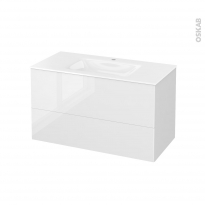 Meuble de salle de bains - Plan vasque VALA - STECIA Blanc - 2 tiroirs - Côtés blancs - L100,5 x H58,2 x P50,5 cm