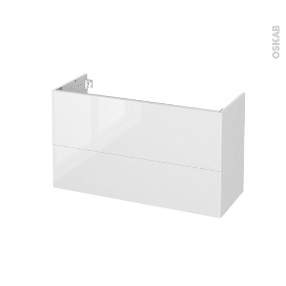 Meuble de salle de bains - Sous vasque - BORA Blanc - 2 tiroirs - Côtés blancs - L100 x H57 x P40 cm