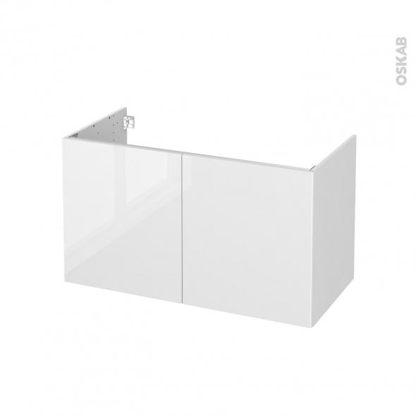 Meuble de salle de bains - Sous vasque - STECIA Blanc - 2 portes - Côtés blancs - L100 x H57 x P50 cm