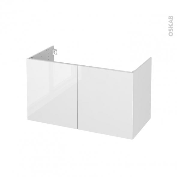 Meuble de salle de bains - Sous vasque - STECIA Blanc - 2 portes - Côtés décors - L100 x H57 x P50 cm