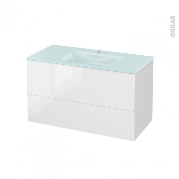Meuble de salle de bains - Plan vasque EGEE - STECIA Blanc - 2 tiroirs - Côtés blancs - L100,5 x H58,2 x P50,5 cm