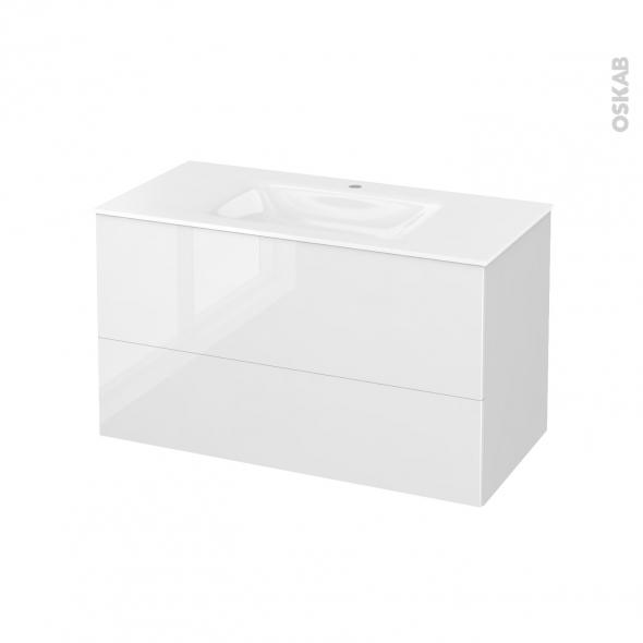 STECIA Blanc - Meuble salle de bains N°651 - Vasque VALA - 2 tiroirs  - L100,5xH58,2xP50,5
