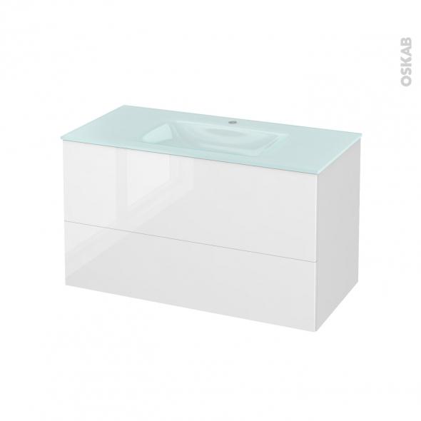 Meuble de salle de bains - Plan vasque EGEE - STECIA Blanc - 2 tiroirs - Côtés décors - L100,5 x H58,2 x P50,5 cm