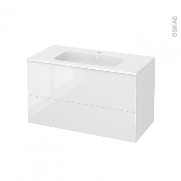 Meuble de salle de bains - Plan vasque REZO - BORA Blanc - 2 tiroirs - Côtés décors - L100.5 x H58.5 x P50.5 cm