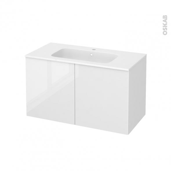 Meuble de salle de bains - Plan vasque REZO - STECIA Blanc - 2 portes - Côtés blancs - L100,5 x H58,5 x P50,5 cm