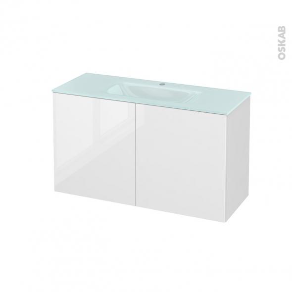 Meuble de salle de bains - Plan vasque EGEE - STECIA Blanc - 2 portes - Côtés décors - L100,5 x H58,2 x P40,5 cm