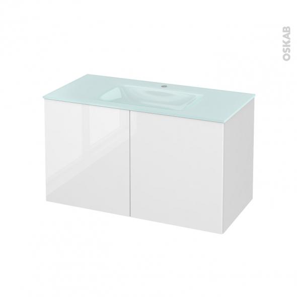 STECIA Blanc - Meuble salle de bains N°662 - Vasque EGEE - 2 portes  - L100,5xH58,2xP50,5