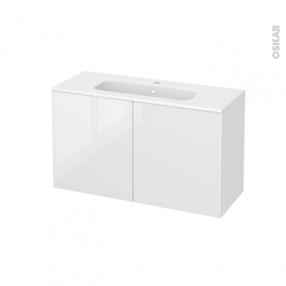 Meuble de salle de bains - Plan vasque REZO - STECIA Blanc - 2 portes - Côtés décors - L100,5 x H58,5 x P40,5 cm