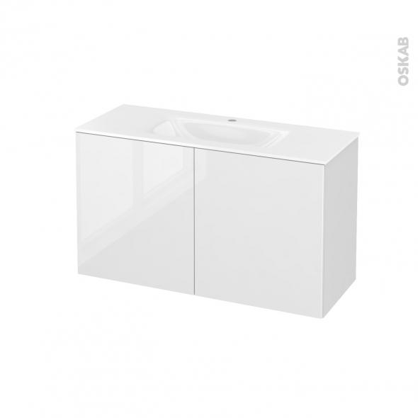 Meuble de salle de bains - Plan vasque VALA - STECIA Blanc - 2 portes - Côtés décors - L100,5 x H58,2 x P40,5 cm
