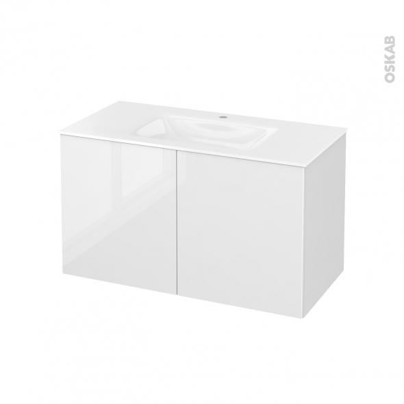 Meuble de salle de bains - Plan vasque VALA - STECIA Blanc - 2 portes - Côtés décors - L100,5 x H58,2 x P50,5 cm