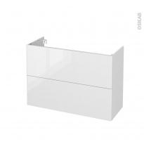 Meuble de salle de bains - Sous vasque - BORA Blanc - 2 tiroirs - Côtés blancs - L100 x H70 x P40 cm