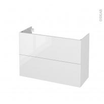 Meuble de salle de bains - Sous vasque - BORA Blanc - 2 tiroirs - Côtés décors - L100 x H70 x P40 cm