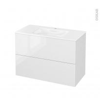 Meuble de salle de bains - Plan vasque VALA - STECIA Blanc - 2 tiroirs - Côtés décors - L100,5 x H71,2 x P50,5 cm