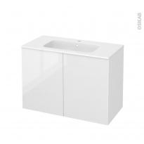 Meuble de salle de bains - Plan vasque REZO - BORA Blanc - 2 portes - Côtés décors - L100,5 x H71,5 x P50,5 cm