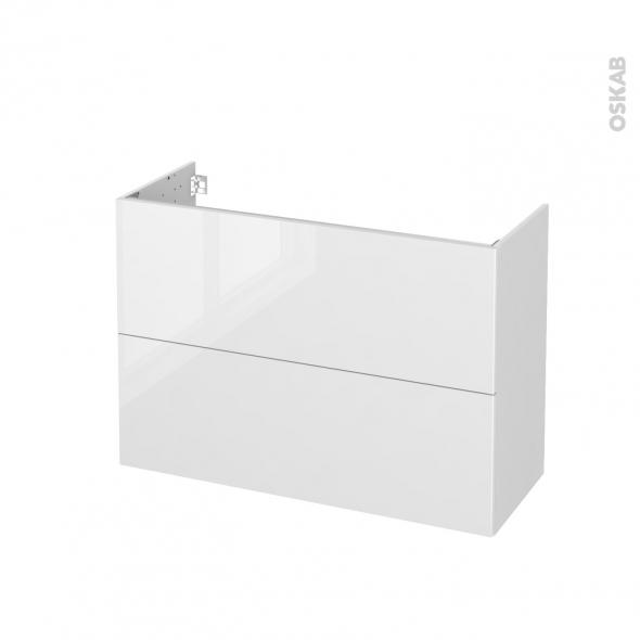 Meuble de salle de bains - Sous vasque - STECIA Blanc - 2 tiroirs - Côtés blancs - L100 x H70 x P40 cm