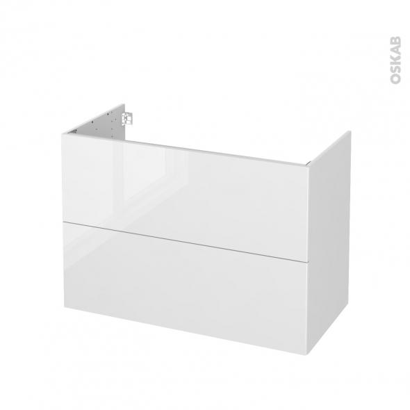 Meuble de salle de bains - Sous vasque - STECIA Blanc - 2 tiroirs - Côtés blancs - L100 x H70 x P50 cm
