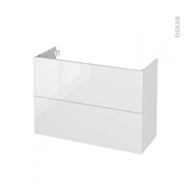 Meuble de salle de bains - Sous vasque - STECIA Blanc - 2 tiroirs - Côtés décors - L100 x H70 x P40 cm