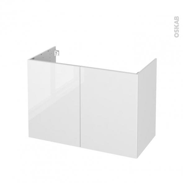 Meuble de salle de bains - Sous vasque - STECIA Blanc - 2 portes - Côtés décors - L100 x H70 x P50 cm