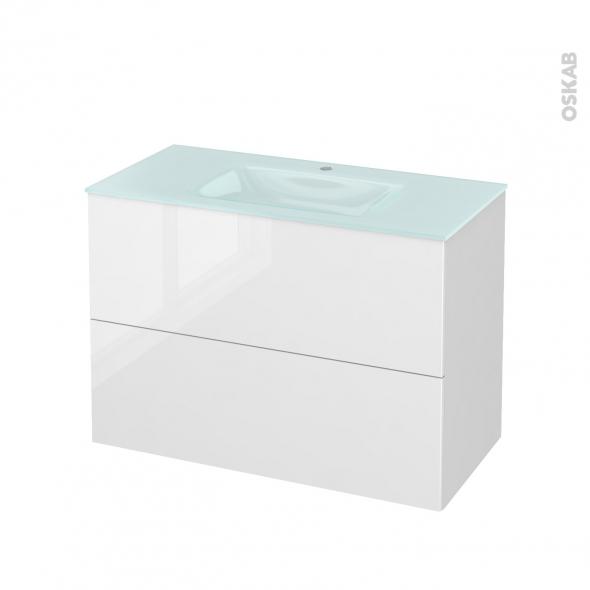 STECIA Blanc - Meuble salle de bains N°611 - Vasque EGEE - 2 tiroirs  - L100,5xH71,2xP50,5