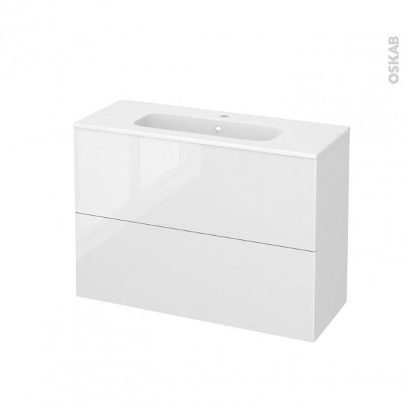 Meuble de salle de bains - Plan vasque REZO - STECIA Blanc - 2 tiroirs - Côtés blancs - L100,5 x H71,5 x P40,5 cm