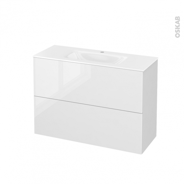 Meuble de salle de bains - Plan vasque VALA - STECIA Blanc - 2 tiroirs - Côtés blancs - L100,5 x H71,2 x P40,5 cm