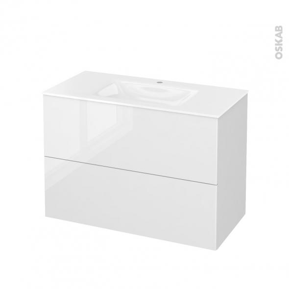 STECIA Blanc - Meuble salle de bains N°611 - Vasque VALA - 2 tiroirs  - L100,5xH71,2xP50,5