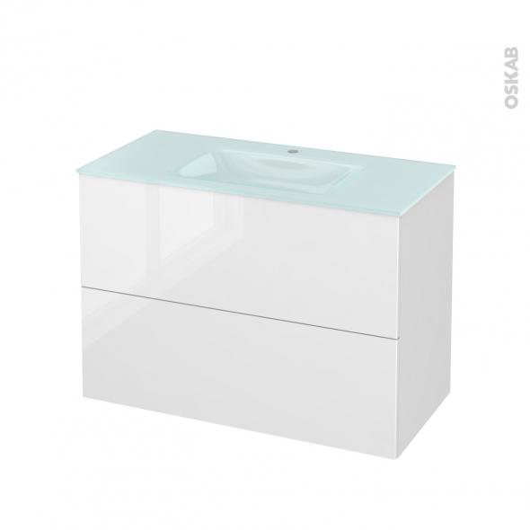 Meuble de salle de bains - Plan vasque EGEE - STECIA Blanc - 2 tiroirs - Côtés décors - L100,5 x H71,2 x P50,5 cm
