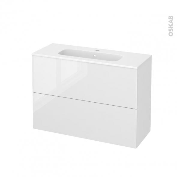 STECIA Blanc - Meuble salle de bains N°612 - Vasque REZO - 2 tiroirs Prof.40 - L100,5xH71,5xP40,5
