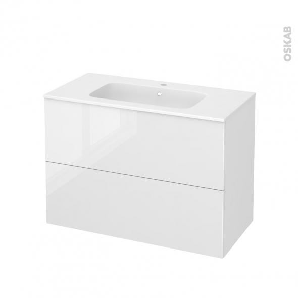 STECIA Blanc - Meuble salle de bains N°612 - Vasque REZO - 2 tiroirs  - L100,5xH71,5xP50,5