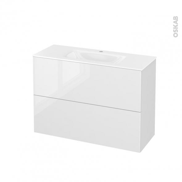 Meuble de salle de bains - Plan vasque VALA - STECIA Blanc - 2 tiroirs - Côtés décors - L100,5 x H71,2 x P40,5 cm