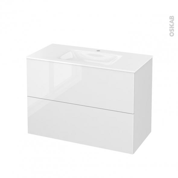Meuble de salle de bains - Plan vasque VALA - BORA Blanc - 2 tiroirs - Côtés décors - L100,5 x H71,2 x P50,5 cm
