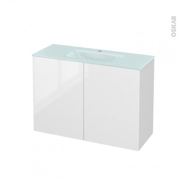 STECIA Blanc - Meuble salle de bains N°711 - Vasque EGEE - 2 portes Prof.40 - L100,5xH71,2xP40,5