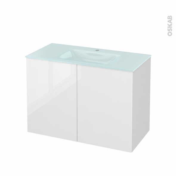 STECIA Blanc - Meuble salle de bains N°711 - Vasque EGEE - 2 portes  - L100,5xH71,2xP50,5