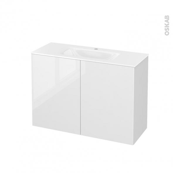 STECIA Blanc - Meuble salle de bains N°711 - Vasque VALA - 2 portes Prof.40 - L100,5xH71,2xP40,5