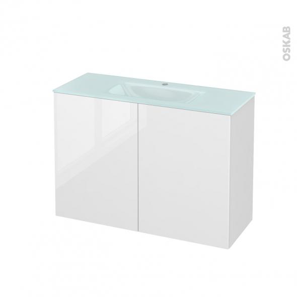 STECIA Blanc - Meuble salle de bains N°712 - Vasque EGEE - 2 portes Prof.40 - L100,5xH71,2xP40,5