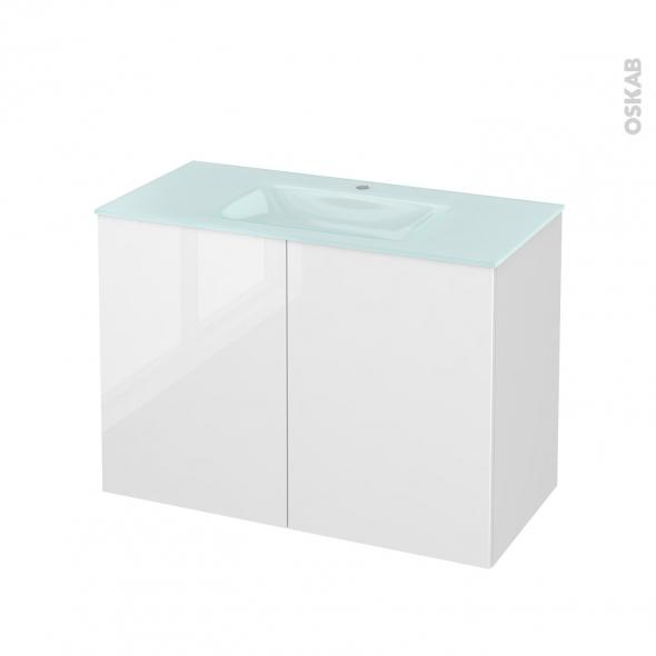 Meuble de salle de bains - Plan vasque EGEE - STECIA Blanc - 2 portes - Côtés décors - L100,5 x H71,2 x P50,5 cm