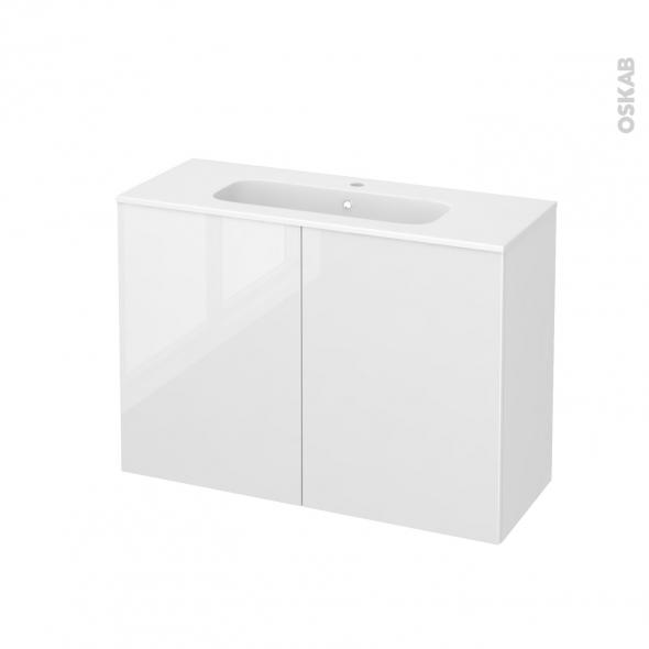 STECIA Blanc - Meuble salle de bains N°712 - Vasque REZO - 2 portes Prof.40 - L100,5xH71,5xP40,5