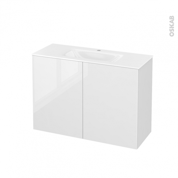 STECIA Blanc - Meuble salle de bains N°712 - Vasque VALA - 2 portes Prof.40 - L100,5xH71,2xP40,5