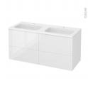 Meuble de salle de bains - Plan double vasque REZO - BORA Blanc - 4 tiroirs - Côtés décors - L120,5 x H58,5 x P50,5 cm