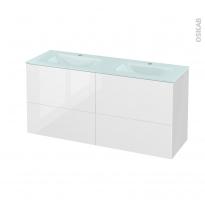 Meuble de salle de bains - Plan double vasque EGEE - STECIA Blanc - 4 tiroirs - Côtés blancs - L120,5 x H58,2 x P40,5 cm