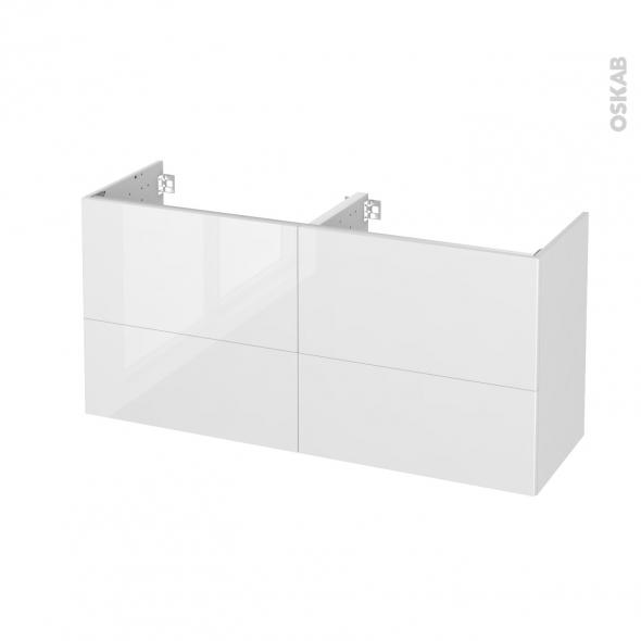 Meuble de salle de bains - Sous vasque double - BORA Blanc - 4 tiroirs - Côtés décors - L120 x H57 x P40 cm