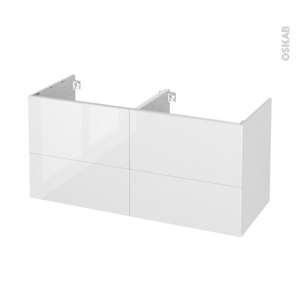 STECIA Blanc - Meuble sous vasque N°672 - Côté décor - Double vasque - 4 tiroirs - L120xH57xP50