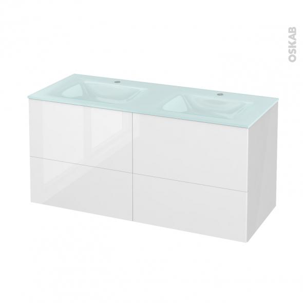 Meuble de salle de bains - Plan double vasque EGEE - STECIA Blanc - 4 tiroirs - Côtés blancs - L120,5 x H58,2 x P50,5 cm