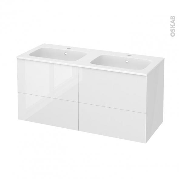 Meuble de salle de bains - Plan double vasque REZO - STECIA Blanc - 4 tiroirs - Côtés blancs - L120,5 x H58,5 x P50,5 cm