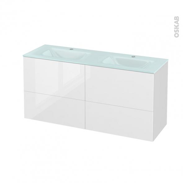 Meuble de salle de bains - Plan double vasque EGEE - STECIA Blanc - 4 tiroirs - Côtés décors - L120,5 x H58,2 x P40,5 cm