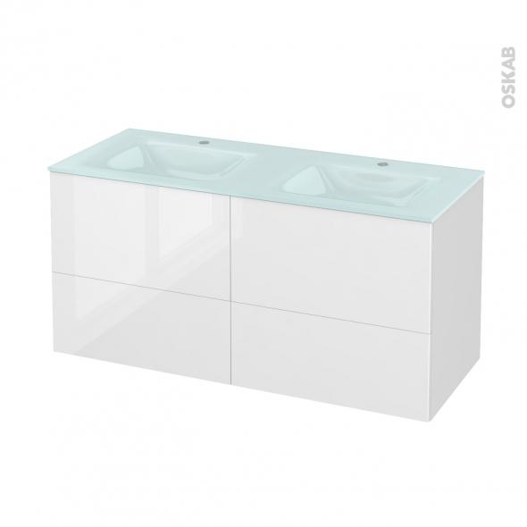 Meuble de salle de bains - Plan double vasque EGEE - STECIA Blanc - 4 tiroirs - Côtés décors - L120,5 x H58,2 x P50,5 cm